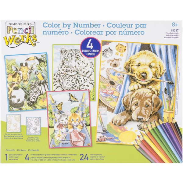 4 Pack Friendly Animals Color by Number Art Kit