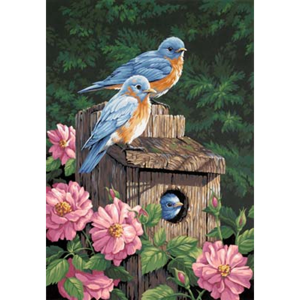 Garden Bluebirds PBN 14x20