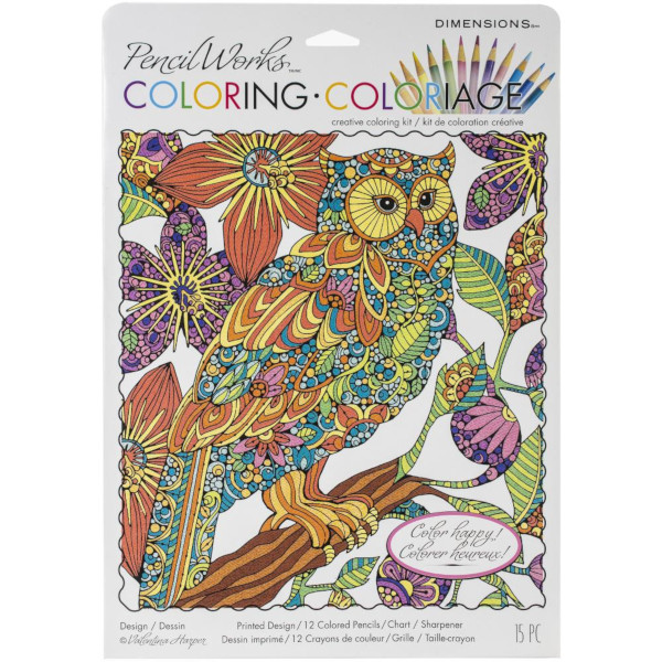Flowering Owl Color by Number Art Kit