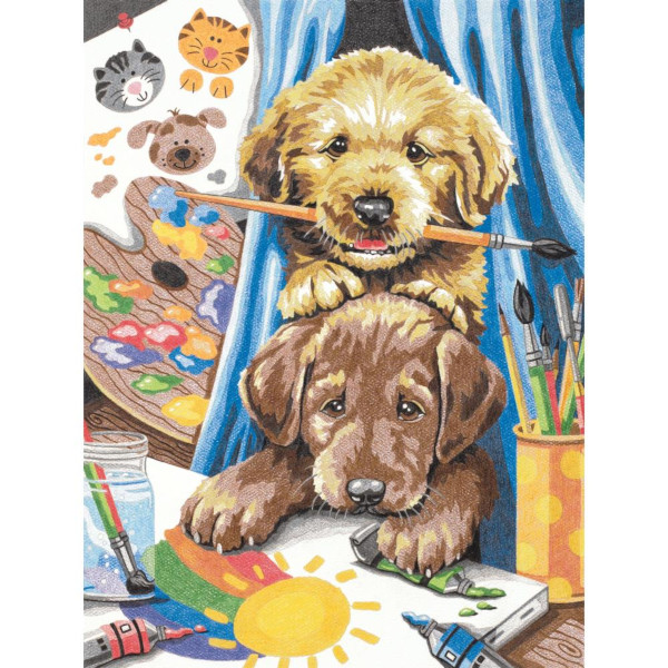 Puppies Color by Number Art Kit