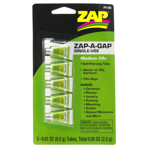 Zap-A-Gap Medium CA+ Single Use Tubes, 5 x 1/2 gram, Carded