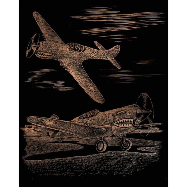 Copper Engraving WWII Fighter