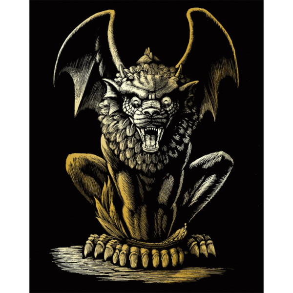 Lion Gargoyle Gold Foil Engraving Art Kit