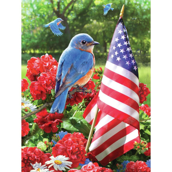Patriotic Bluebird Paint by Number