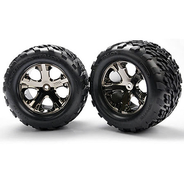 Traxxas All-Star Blk Chrome Whls w/ Talon Tires (2)