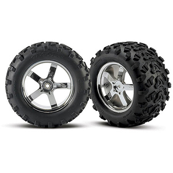 "Traxxas Tires & Hurricane Chrome Wheels(2)T-Maxx 3.8"",Revo"