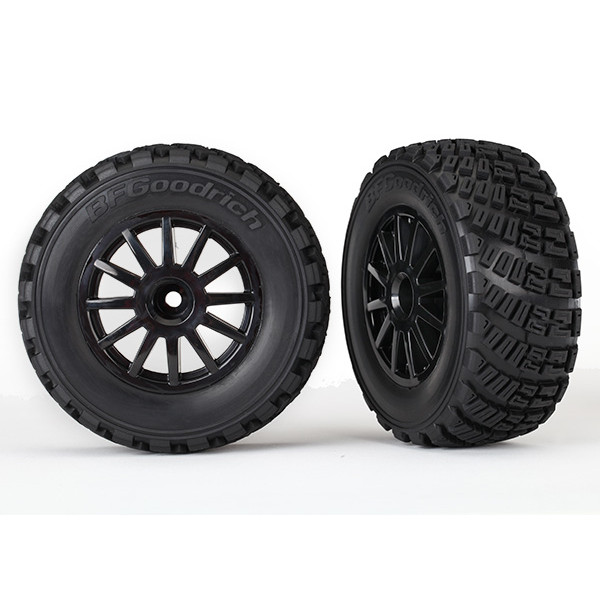 7473T Tires & wheels, assembled, glued: BLACK